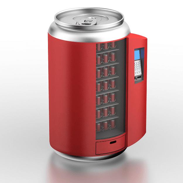Red soda machine